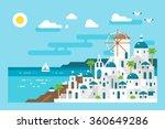 flat design santorini cityscape ... | Shutterstock .eps vector #360649286