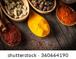spices. spice in wooden spoon.... | Shutterstock . vector #360664190