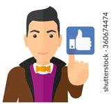 man pressing like button. | Shutterstock .eps vector #360674474