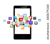 mobile phone and icons media... | Shutterstock .eps vector #360679160