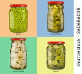 pickles set in jars. pickled... | Shutterstock .eps vector #360686018