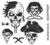 set of vintage skulls pirate | Shutterstock .eps vector #360699869