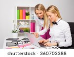 two female co workers working...   Shutterstock . vector #360703388