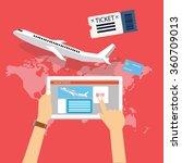 book buy plane flight ticket... | Shutterstock .eps vector #360709013