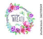 Watercolor Wreath Of Lilies ...