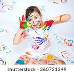 cute girl showing her hands... | Shutterstock . vector #360721349