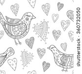 Birds And Hearts Doodle...