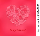 red be my valentine line icons... | Shutterstock .eps vector #360747059