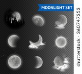 moonlight set with moon phases... | Shutterstock .eps vector #360747353