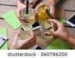 four hands with smart phones... | Shutterstock . vector #360786200