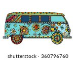 vintage car a mini van in... | Shutterstock .eps vector #360796760