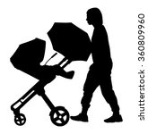 Woman With Baby And Pram...