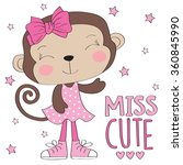 miss cute monkey girl vector... | Shutterstock .eps vector #360845990
