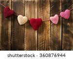 garland knitting hearts on old