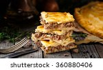 homemade pie stuffed with beef | Shutterstock . vector #360880406