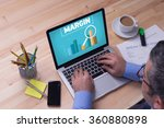 man working on laptop with... | Shutterstock . vector #360880898
