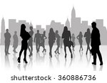 people silhouette in the city  | Shutterstock . vector #360886736