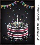 birthday cake with candle....   Shutterstock .eps vector #360908618