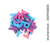 pile of colorful wooden letters ... | Shutterstock . vector #360936800