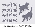 Stock vector set of the isometric grey walking cats the objects are isolated against the pale grey background 360955574