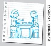 businesswoman playing chess | Shutterstock .eps vector #360959723