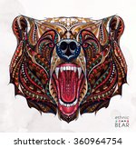 patterned head of the growling... | Shutterstock .eps vector #360964754