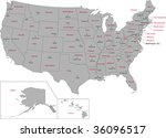 gray usa map with states and... | Shutterstock .eps vector #36096517