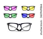 vector set of glasses with... | Shutterstock .eps vector #360969866