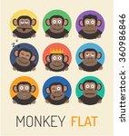 monkey flat  color symbol of... | Shutterstock .eps vector #360986846