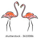 Pink Flamingos  Vector