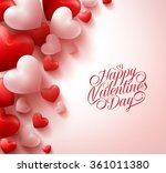 3d realistic red hearts and... | Shutterstock .eps vector #361011380