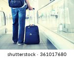 traveler with a suitcase on the ... | Shutterstock . vector #361017680