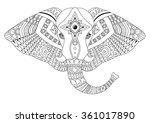patterned head of the elephant  ... | Shutterstock .eps vector #361017890