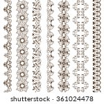 hand drawn henna borders. ... | Shutterstock .eps vector #361024478