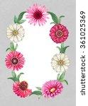 watercolor floral wreath.... | Shutterstock . vector #361025369