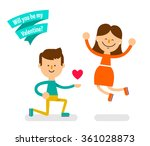 young couple in love. boy got... | Shutterstock .eps vector #361028873