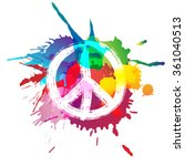 Peace Sign In Front Of Colorful ...