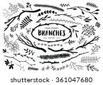 set of hand drawn branches. ink ... | Shutterstock .eps vector #361047680