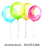 four bright balloons painted in ... | Shutterstock . vector #361051286