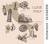 creative map of italy with... | Shutterstock .eps vector #361068308