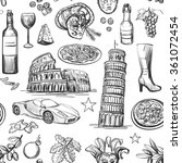 seamless pattern of italy with... | Shutterstock .eps vector #361072454