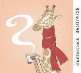 sick giraffe drinking tea  | Shutterstock .eps vector #361074728