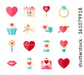 happy valentine day objects set ... | Shutterstock .eps vector #361079918