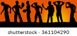 a silhouette of a group of male ... | Shutterstock . vector #361104290
