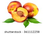 Nectarine Peach Fruits Isolate...