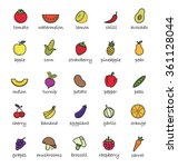 fruits and vegetables color... | Shutterstock . vector #361128044