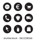 online store black icons set....