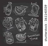 Breakfast Food In Doodle Style...