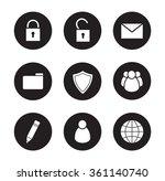 file manager black icons set....