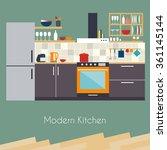 kitchen interior. flat design... | Shutterstock .eps vector #361145144